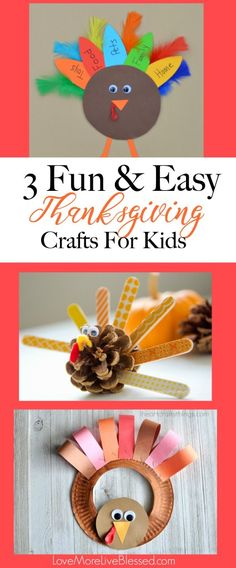 I found 3 fun and easy Thanksgiving crafts for kids! I love how simple the crafts are. Perfect for your Thanksgiving crafting with kids! Pin now! Thanksgiving fun, family fun, holiday activities
