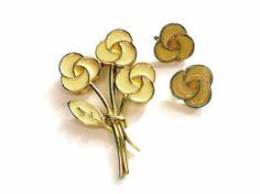 Enamel Flower Demi Parure Brooch Earrings Set by ReneeMaeVintage