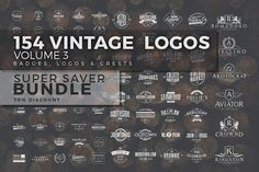 154 Vintage Logos Bundle Vol.3 @creativework247