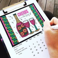 2016 Printable Calendar Adult Coloring Book by PaisleyandHazel