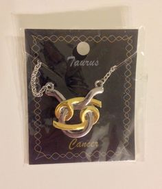 CANCER TAURUS ASTROLOGY GOLD & SILVER TONE NECKLACE