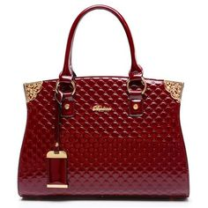 Elegant Women's Tote Bag With Patent Leather and Embossing Design