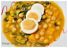 Potaje de garbanzos con espinacas Yummy Food, Tasty, Chana Masala, Food And Drink, Gluten, Favorite Recipes, Cooking, Ethnic Recipes, Kitchen
