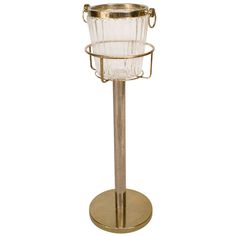 Mid-Century Modern Glass Champagne Bucket And Brass Stand Modern Glass, Mid-century Modern, Cooler Stand, Champagne Buckets, Wine Drinks, Barware, Mid Century, Home Appliances, Brass