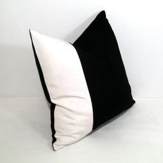 Black and White Pillow Cover -  Decorative Outdoor Cushion - Color Blocked - Modern Sunbrella 16 inch. $49.00, via Etsy.