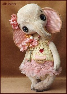 Items similar to Alla Bears original artist Elephant art doll Vintage Antique baby handmade rose cupcake home decor Sweet Mothers Day Birthday girl gift on Etsy Softies, Plushies, Fabric Scraps, Scrap Fabric, Long Time Friends, Elephant Art, Soft Dolls, Vintage Sewing, Vintage Antiques