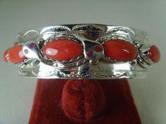 Red Coral Bracelet 3/4 Inch Wide Signed By Effie Calavaza  Zuni .925 Sterling