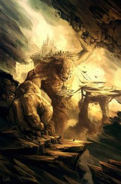 A kingdom built in a fallen stone Titan that died holding the walls of the cave to protect the city