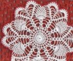 """Pineapples from My heart  Designed By Aly Hymel January 2003 © free pattern  Materials: Cotton # 10 , 100 yds white 20 yds red. Hook # 7    Size 10"""""""