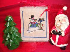 Rustic Frosty Cross Stitched Sachet with cinnamon or cedar pumpkin potpourri by ItIsSoShabbyChic on Etsy