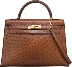 0ef5fc8bca Hermes 32cm Noisette Ostrich Sellier Kelly Bag with Gold Hardware   Lot  #58402   Heritage Auctions