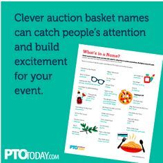 Give your auction basket a clever name It could make the basket more appealing! Fundraiser Baskets, Raffle Baskets, Gift Baskets, Fall Carnival, School Carnival, Quarter Auction, Auction Donations, Chinese Auction, Theme Baskets