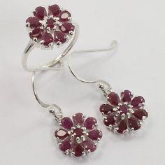 Real RUBY Gemstones 925 Solid Sterling Silver Extraordinary Ring & Earrings Set