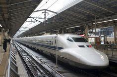 Shinkansen bullet train in station