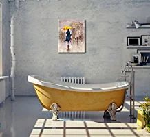 """Canvas Wall Art- Oil Paintings """"Yellow Umbrella Walking at Paris"""" Canvas Prints Modern Landscape Picture Artworks Size 12x16"""" for Wall Decor & Home Decoration -P1L010-3040"""