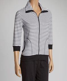 Another great find on #zulily! Black & White Stripe Track Jacket by Silverwear #zulilyfinds