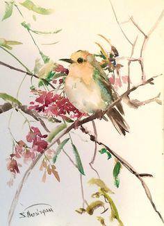 Robin in Spring, Original watercolor painting, 15 X 11 in, robin art, bird art, bird lover, nursery, chidlren on Etsy, $46.00