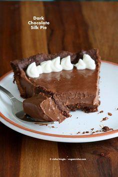 Dark Chocolate Silk Pie with Chocolate Almond Crust. Vegan Glutenfree Soyfree Recipe - Vegan Richa