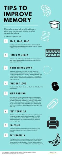 Tips to improve memory. How To Focus Better, Boost Concentration & Avoid Distractions College Hacks, School Hacks, Studyblr, How To Focus Better, How To Become Smarter, Study Techniques, Study Methods, Learning Techniques, School Study Tips