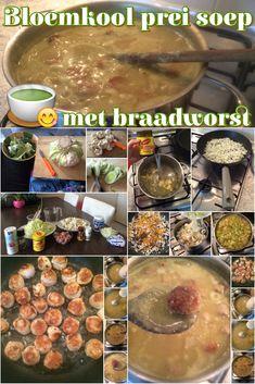 Bloemkool prei soep met braadworst: http://goodinfood.wordpress.com/2014/10/16/bloemkool-prei-soep-met-braadworst/