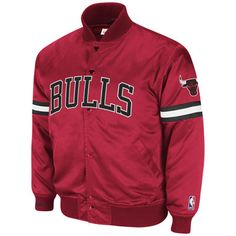 Chicago Bulls Red Mitchell & Ness Backup Satin Front Snap Jacket $179.99  #SeeRed
