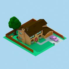 '30 isometric renders in 30 days' Round 2 on Behance - 742 Evergreen Terrace
