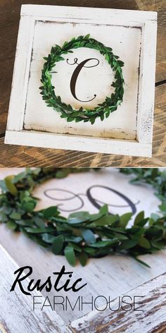 Rustic Farmhouse Style Monogram with Wreath. #ad Love the chippy paint look of this wood frame letter. Perfect with the mini boxwood wreath. #farmhouse #farmhousedecor #farmhousestyle #homedecor #walldecor #monogram #wreath #boxwood #greenery #chippy #rustic #rusticdecor