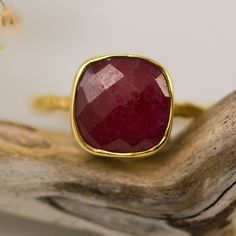 Ruby Ring- Gemstone Ring - Gold Ring - Bezel Ring - July Birthstone Ring. $66.00, via Etsy.