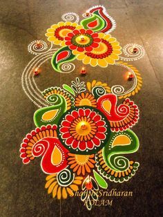 51 Diwali Rangoli Designs Simple and Beautiful Easy Rangoli Designs Diwali, Indian Rangoli Designs, Rangoli Designs Latest, Simple Rangoli Designs Images, Rangoli Designs Flower, Free Hand Rangoli Design, Rangoli Border Designs, Rangoli Patterns, Colorful Rangoli Designs