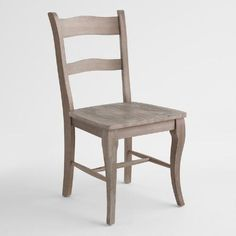 $199/set of 2   (World Market) Crafted of solid rubberwood and acacia wood, our petite chairs boast a low profile that makes them ideal for small dining areas. These traditional side chairs are finished in weathered gray with visible wood grain for a textural appeal.