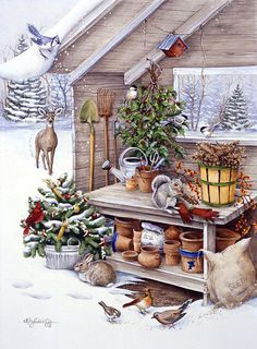 Kathy Goff - Christmas time - Yule - animals - birds