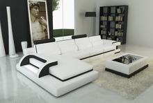 Divani Casa 6122C Modern White and Black Bonded Leather Sectional Sofa