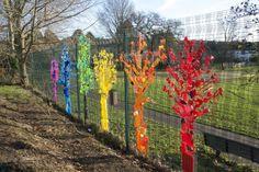 Rainbow Trees From Up-cycled Plastics Plastics Recycled Art