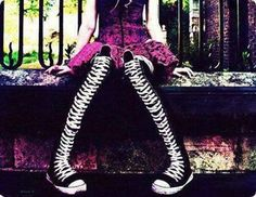 Knee high converses. I need these so much. Adding this to my fashion list.