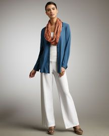 Love the scarf accessory – spring looks from eileen fisher