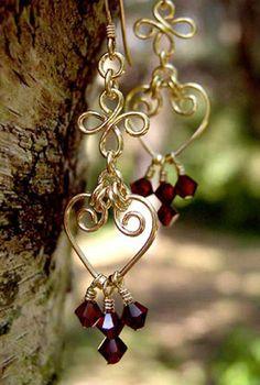 Handmade Gemstone Earrings: Beaded Wire Wrap Silver/14K Golden Pearl, Crystal, Chandelier, Dangle Drop Long Earring