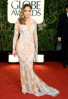 Jennifer Lopez looked like a bombshell at the 2013 Golden Globes in Zuhair Murad's long-sleeve silk gown featuring an ivory embroidered lace overlay with beading detail from the SS13 ready-to-wear collection.