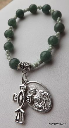 Green Rosary Bracelet Women's Small Communion by AmyDavisArt