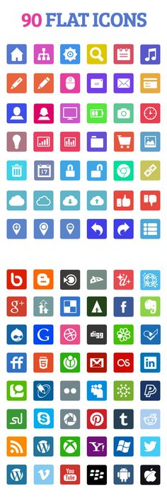 Free flat icons set design by Yasir Jawaid exclusively for GDJ. He is a Visual Designer, specializing in UI/UX design for mobile & web applications. Free icon set have 90 flat icons and each icon available in 2 different formats PNG and PSD with the default size 64×64.