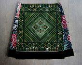 Geometric embroidery skirt, William Morris print , A-line skirt, flower skirt, lined, velvet rim, black green coral red, size Medium
