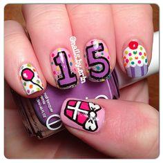 My 15th birthday nails! :P