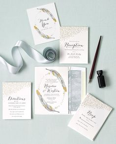 Dipped Feathers invitation by Pistols -- Perfect for the boho-bride! | TheKnot.com