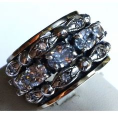 Spinner ring sterling silver & 9 carat gold set with  cz