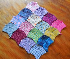 """Life's Rich Pattern - Tanuki blocks made from 2"""" squares and 2"""" diamonds"""