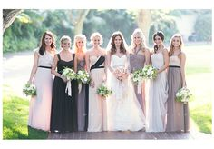 Love these mismatched bridesmaids in various designers!