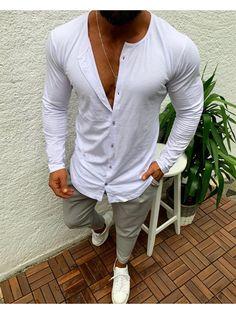 YUNY Men Plus Size T-Shirts Pure Colour Single Breasted Dress Shirt Dark Grey M