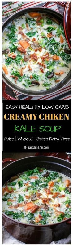 Healthy delicious Creamy Chicken Kale Soup that's gluten, dairy free and Paleo Whole30 friendly. Use shredded chicken or turkey and crispy fried bacon to add extra protein and make it hearty. Follow the link to make this ultimate hearty creamy soup using simple (or even leftover chicken/turkey) ingredients !