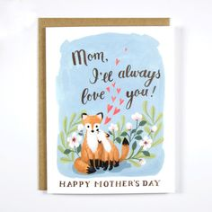 Loving Red Fox Mother's Day Greeting Card, featuring an original gouache illustration. A cute and whimsical Mother's Day greeting card with an illustration of mama and baby red fox. Show your love to