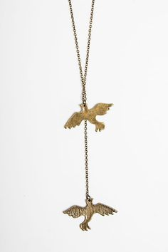 Brandy ♥ Melville | Bronze Two Bird Charm Necklace - Jewelry - Accessories