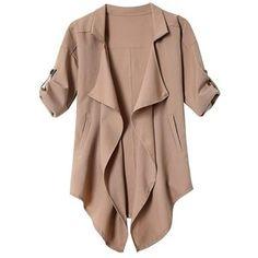 Yoins Khaki Irregular Hem Button Details Lapel Collar Trench Coat